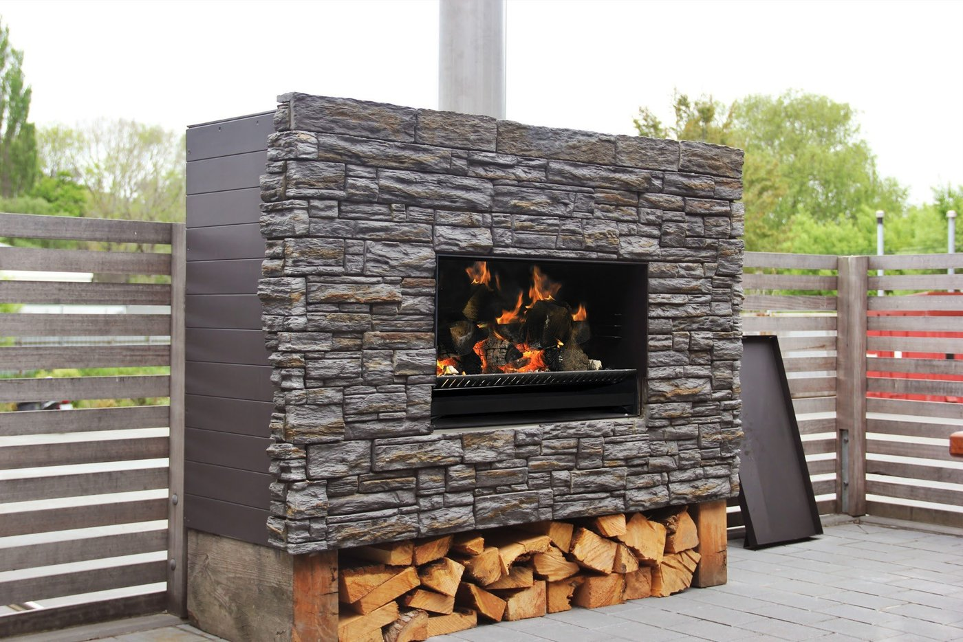 Escea Ew5000 Outdoor Wood Fire With Cooking Grate Brisbane
